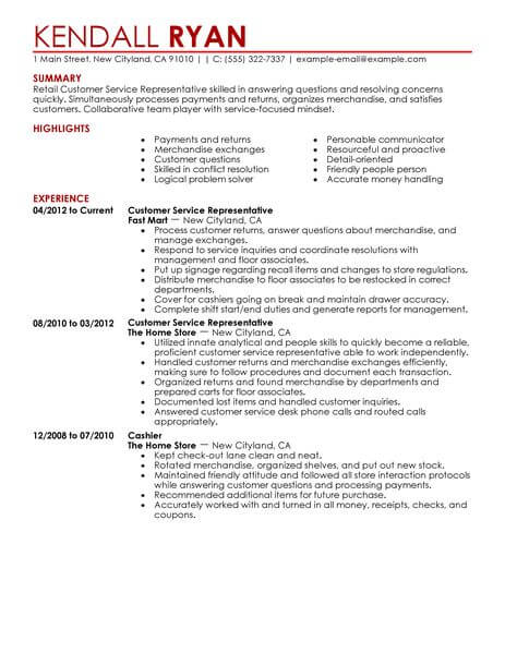 Best Retail Customer Service Representative Resume Example From