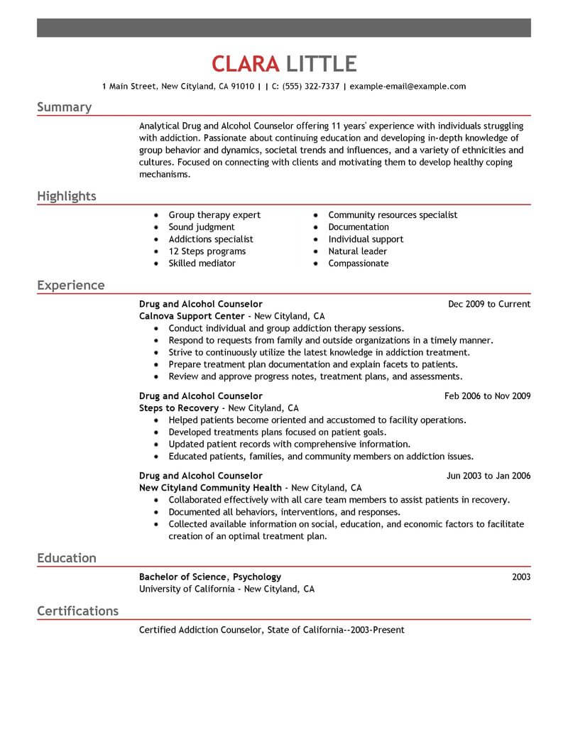 sample addiction counselor resume 2017