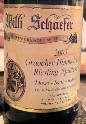 Riesling Spatlese Graacher Himmelreich 2003, Willi Schaefer