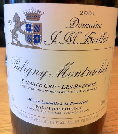 Puligny-Montrachet Premier Cru Les Referts 2001, Domaine J. M. Boillot