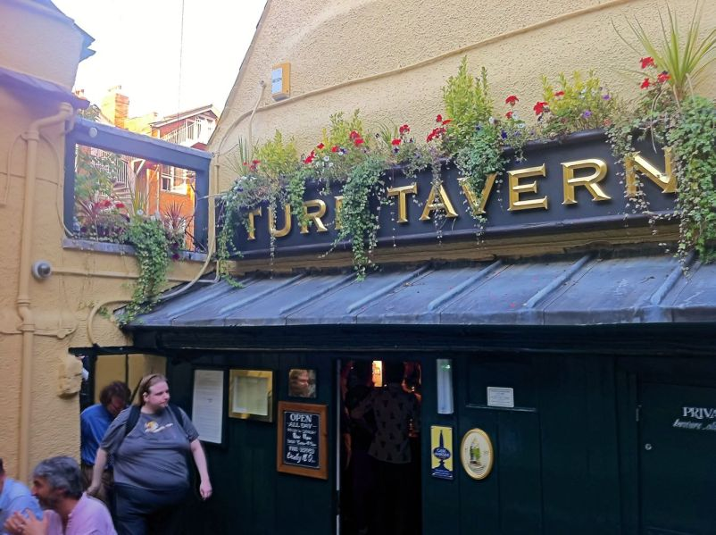 One of the many entrances to The Turf Tavern
