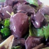 Duck gesier salad - it's definitely not goat turds!
