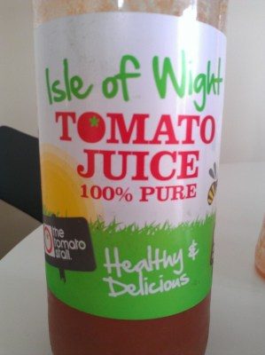 The Tomato Stall juice label