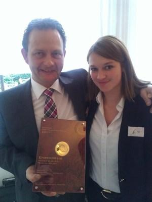 Siegbert Bimmerle with his award