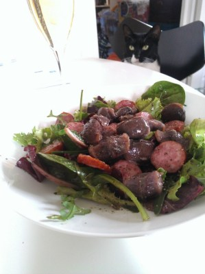Gizzard and sausage salad
