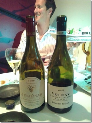 The two red wines we had with our Japanese bender