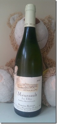 Meursault Les Tillets 2001, Domaine Roulot with Toast the teddy bear