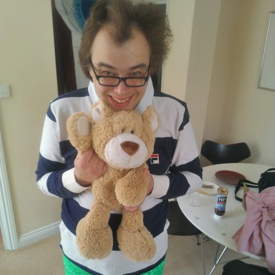 Davy and Toast the teddy bear