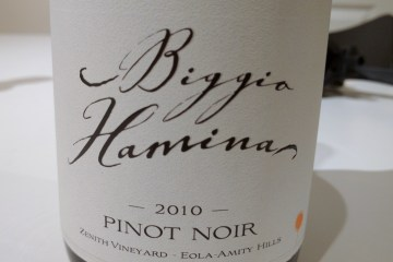 Zenith Vineyard Pinot Noir 2010 from Biggio-Hamnia