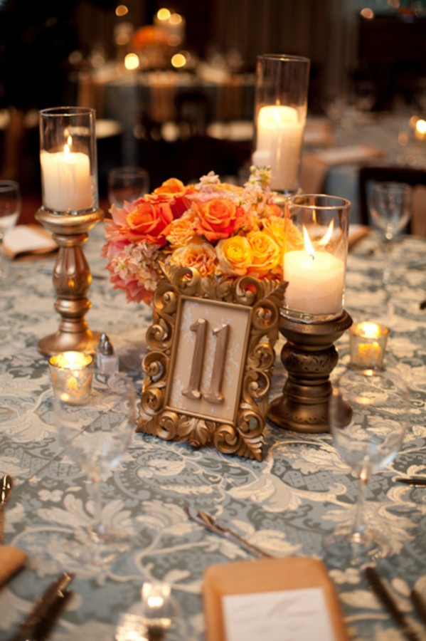 Table Jardin Eucalyptus Gold-bronze-orange-centerpiece - Elizabeth Anne Designs
