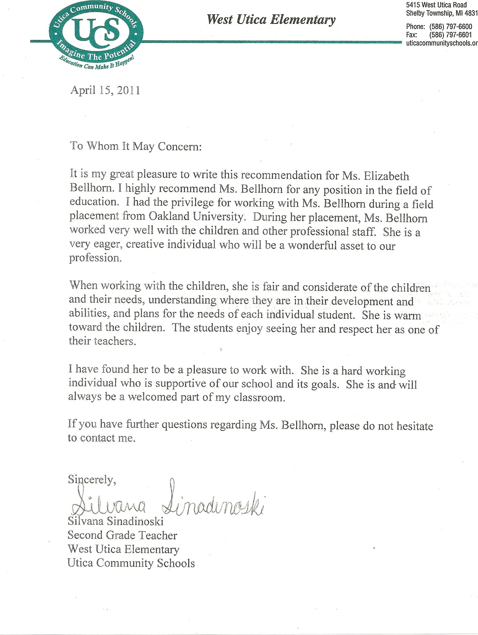 letter of recommendation for elementary student teacher from cooperating teacher