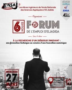Forum ENSAJ Entreprises d'El Jadida  Mercredi 27 mars 2019  A l'Ecole Nationale des Sciences Appliquées à El Jadida