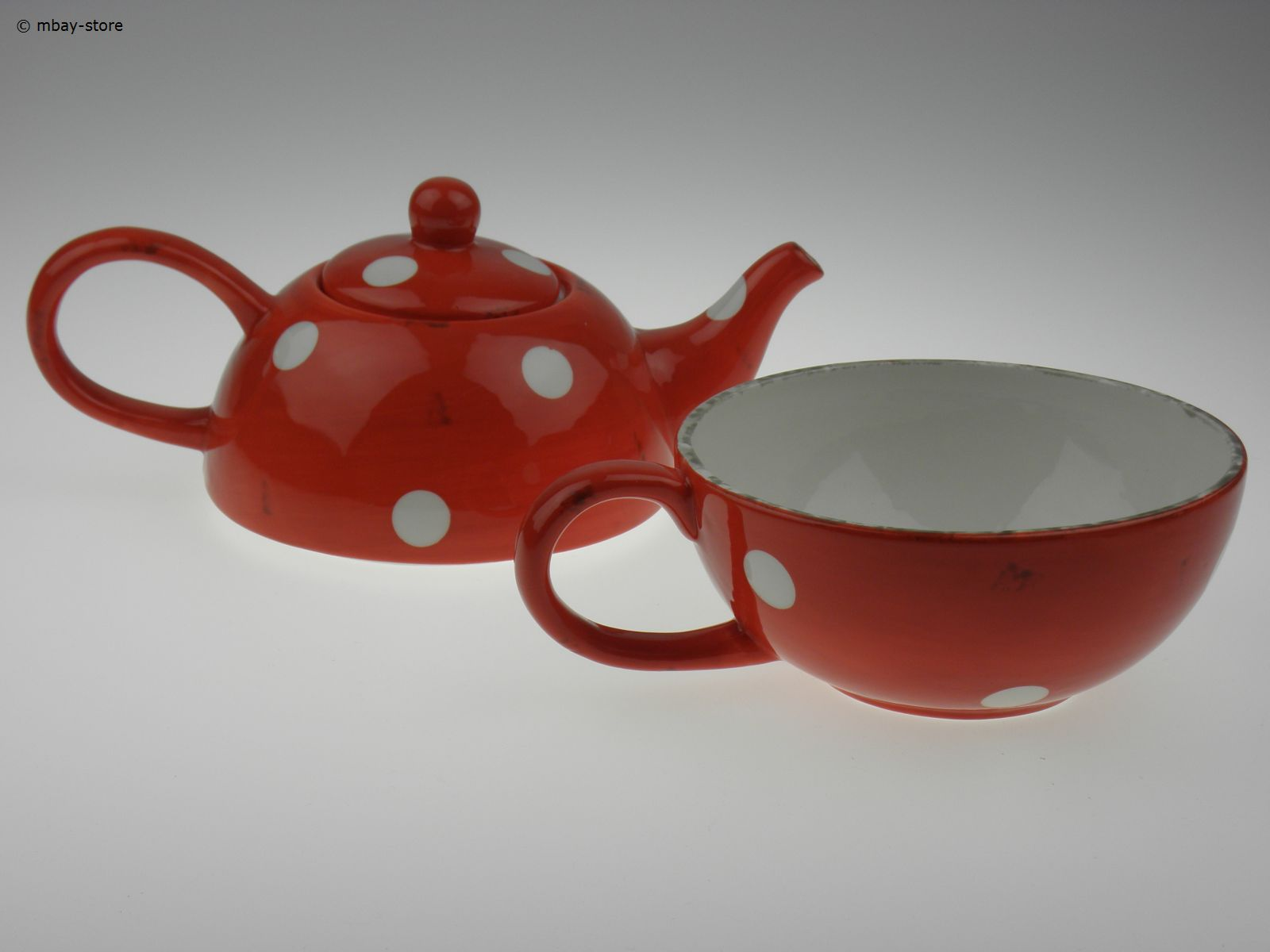 Teekanne Rot Set Teekanne And Tasse Kanne Teetasse Rot And Punkte Tea For