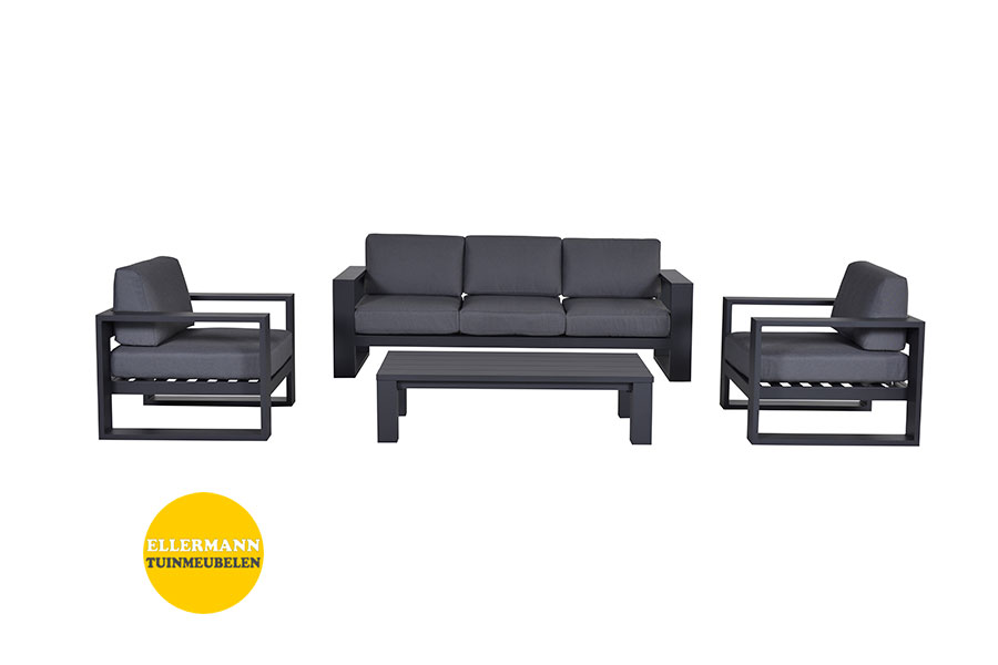 Wicker Stapelstoel Cube Loungeset Garden Impressions Carbon Black | Ellermann