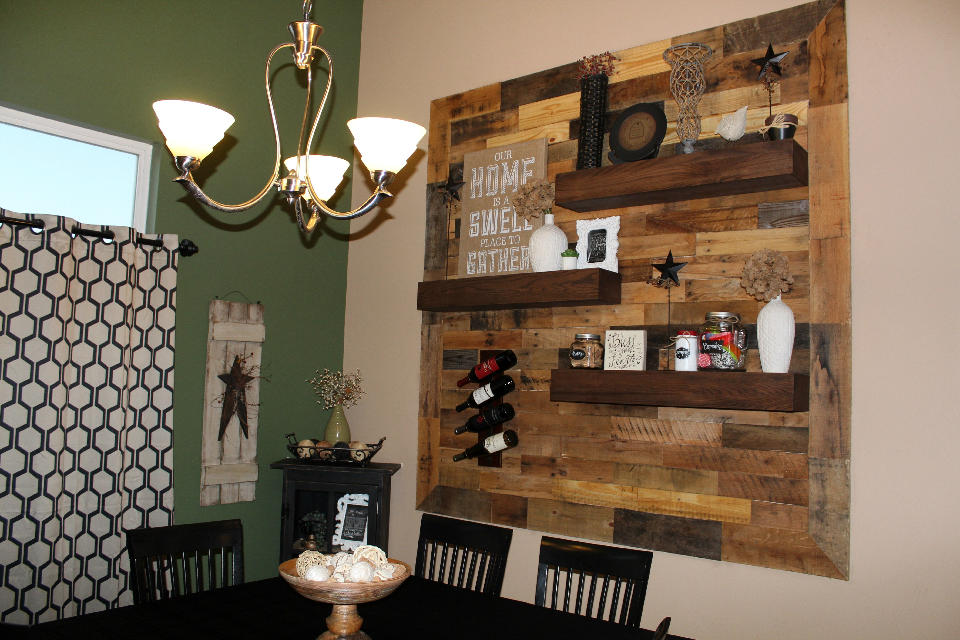 Dining Room Wall Shelves Dining Room Remodel Pallet Wall 43 Floating Shelves