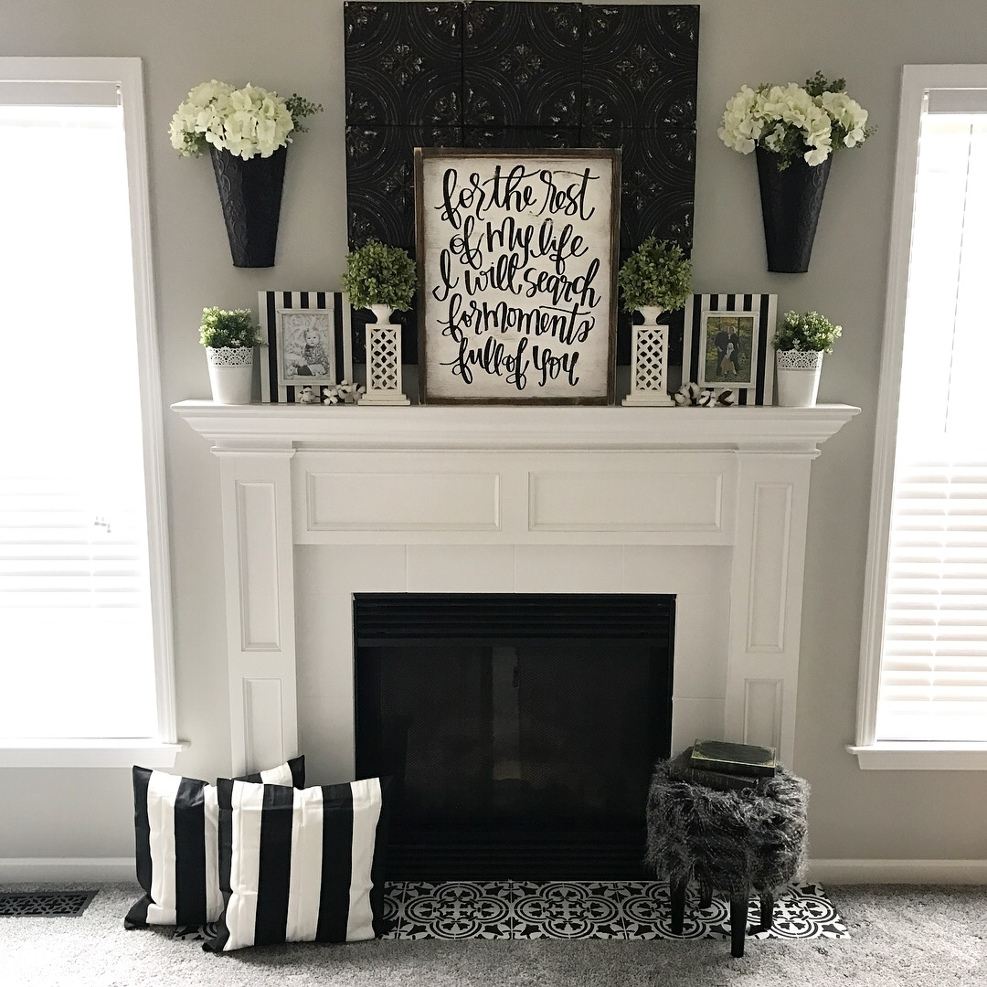 Painting An Old Fireplace Fireplace Makeover Stencil Tile Using Chalk Paint Ellery Designs