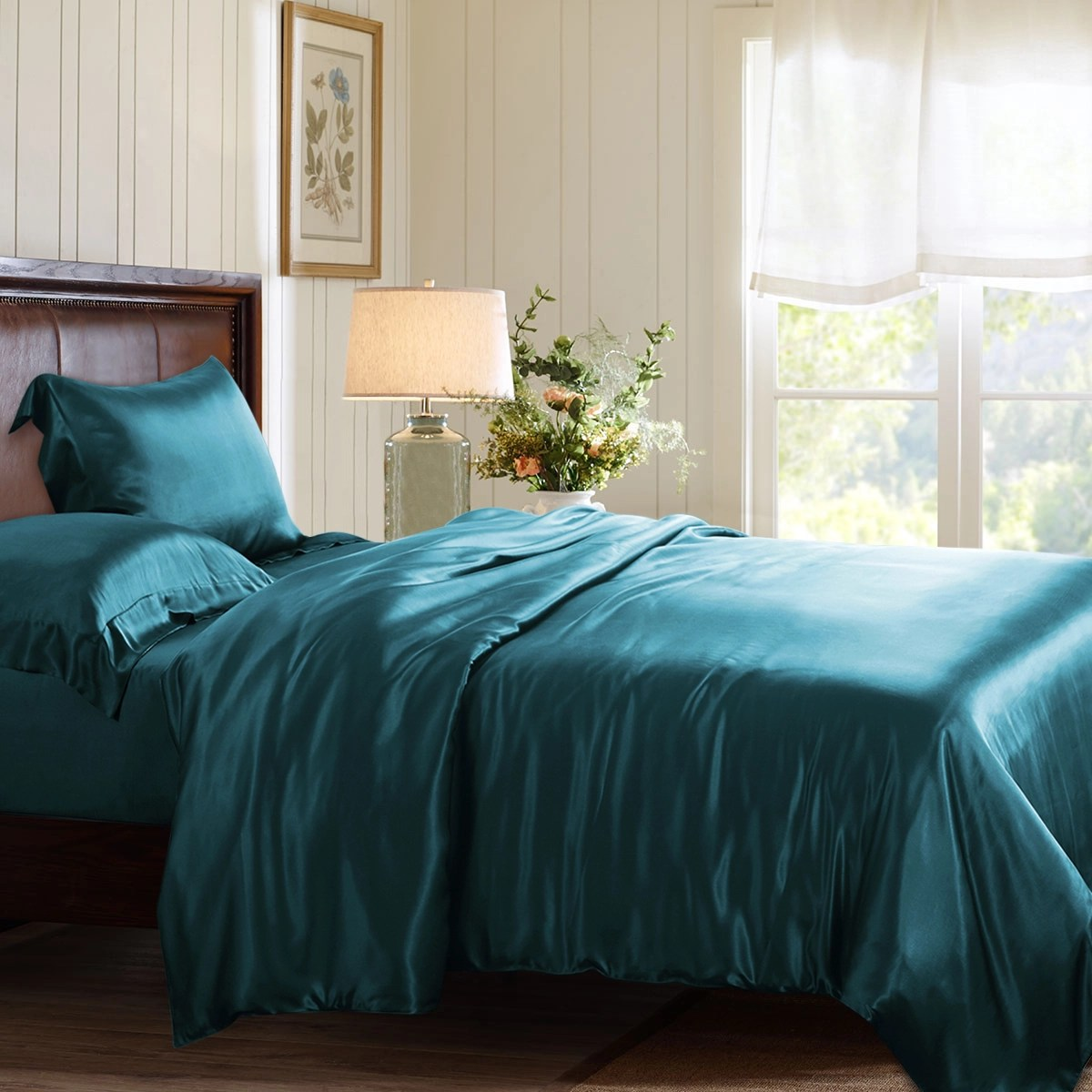Turquoise Quilt Cover Teal Silk Duvet Cover