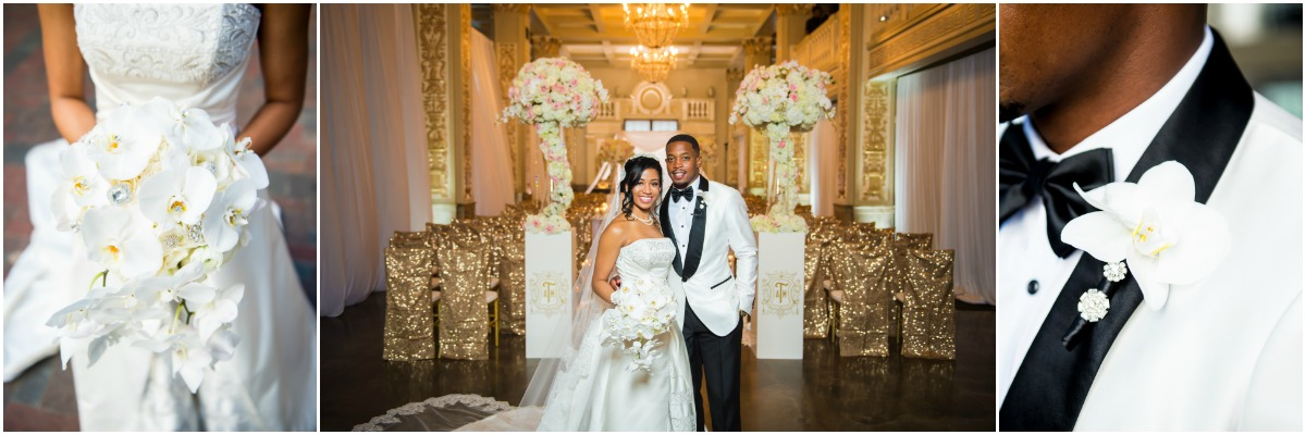 memphis bride and groom, white,  blush, gold wedding