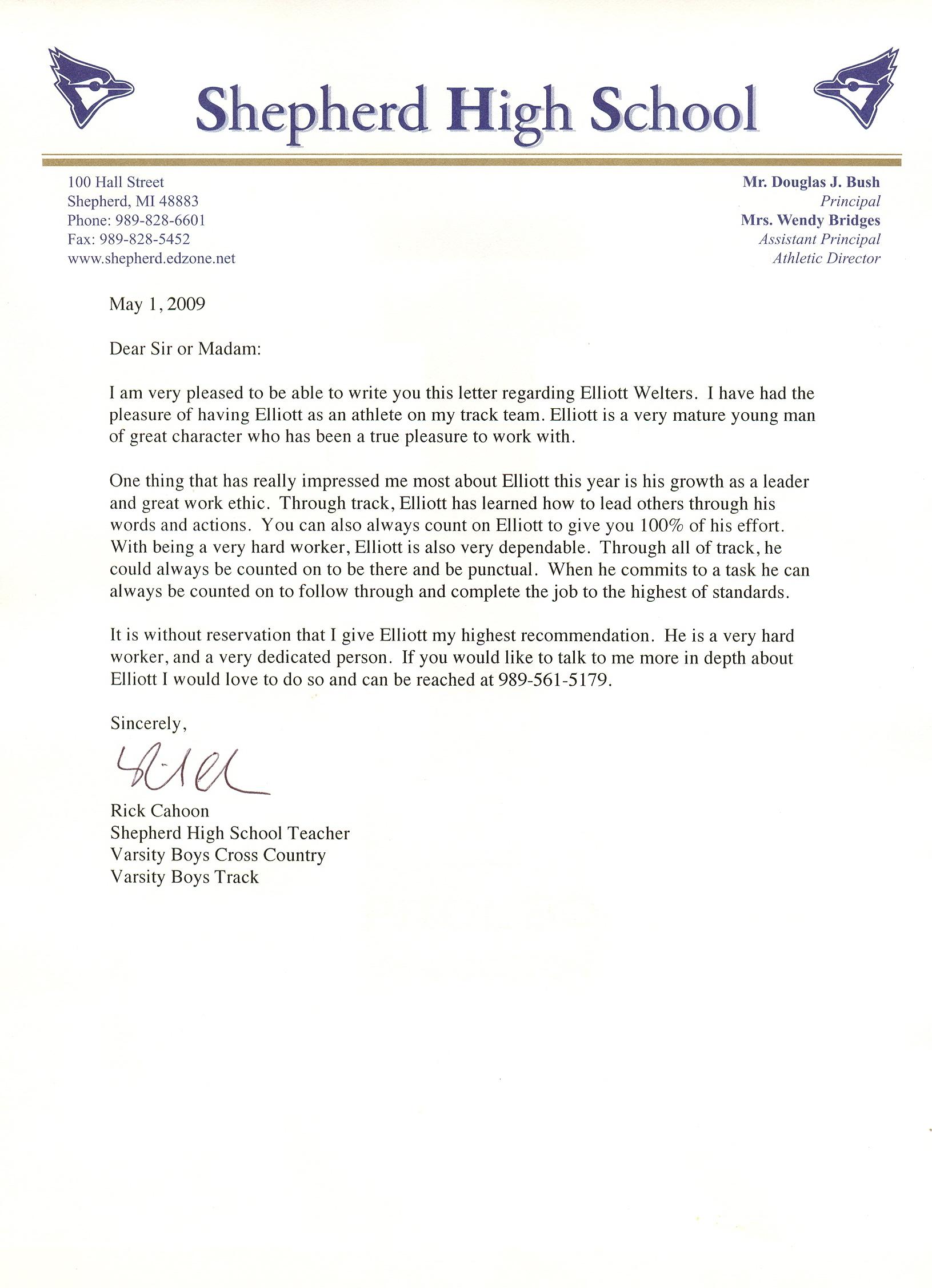 Letter Of Recommendation For Scholarship Tips Samples Personal Testimony Elliott Welters Portfolio