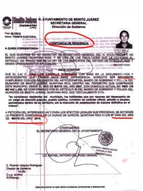 Juan Carrillo Soberanis solicitó y obtuvo su constancia de residencia en el 2013, en Benito Juárez