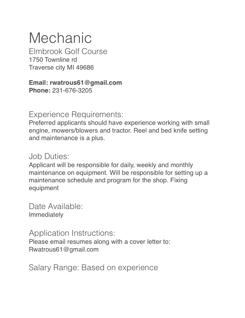 job description for mechanic