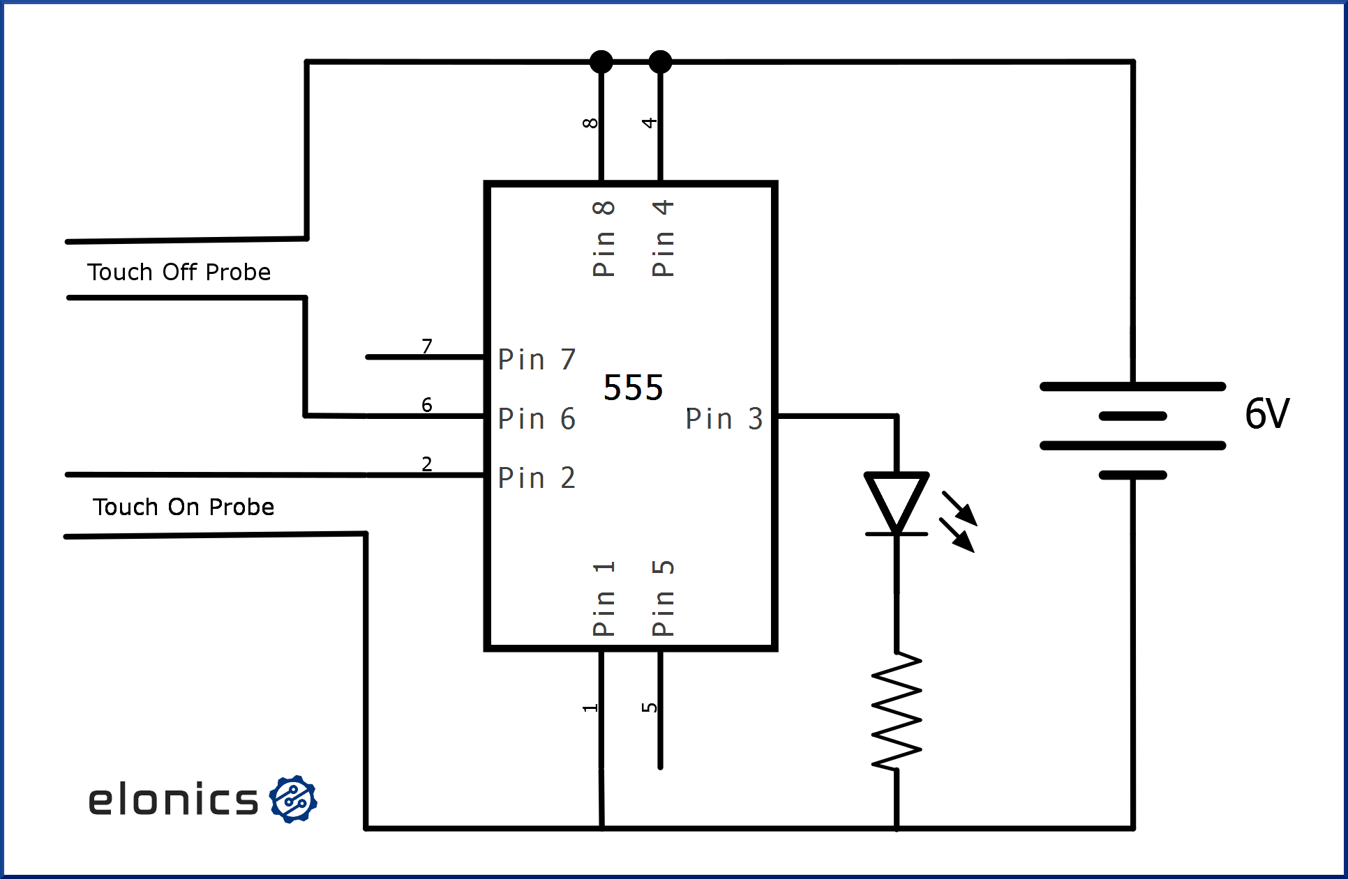 simple touch switch using 555 ic
