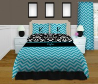 Blue Chevron King Comforter Set, Damask Black and White