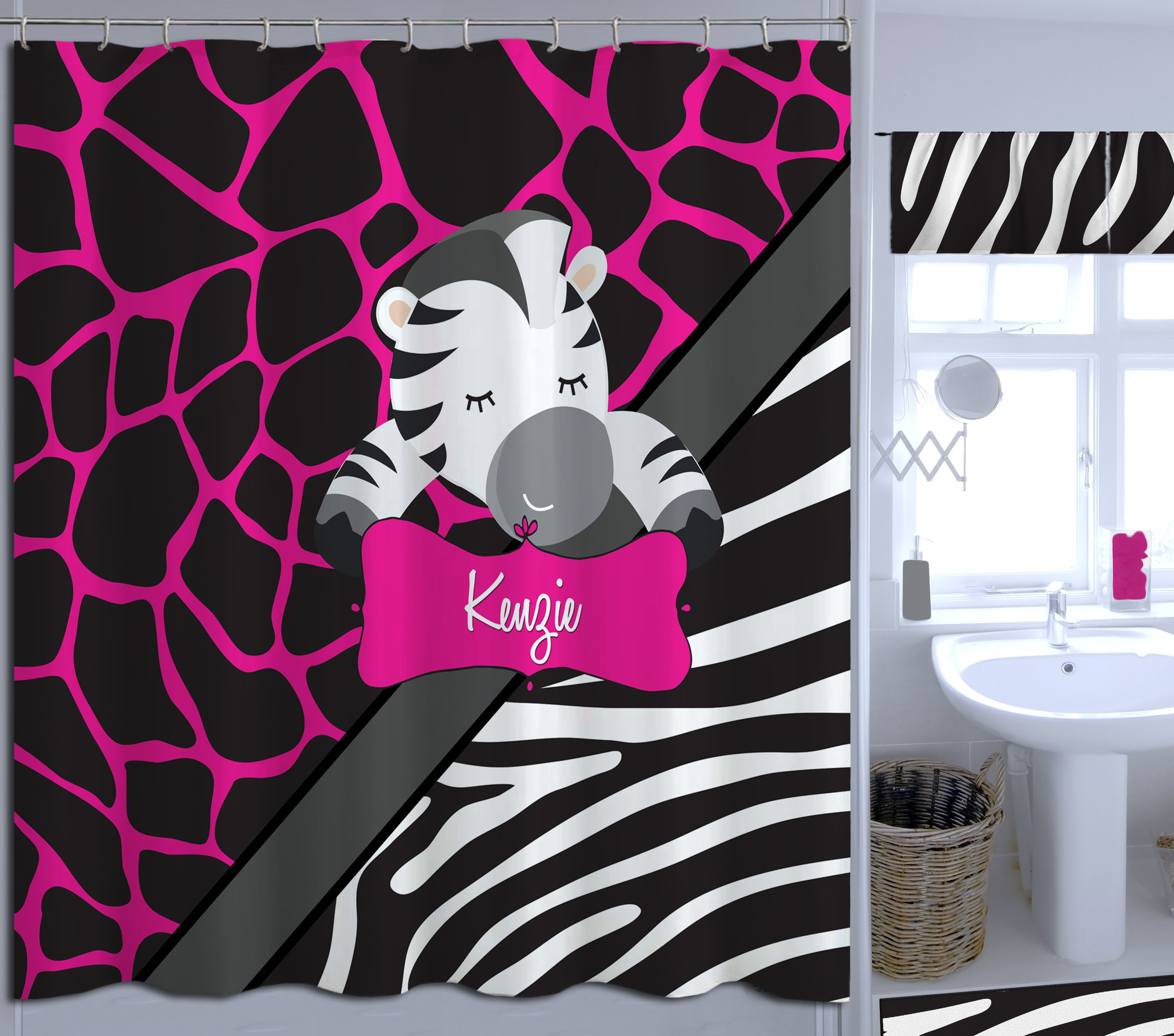 Cute Girly Shower Curtains Personalized Zebra Print Pink Shower Curtain Girly Fabric Shower Curtains 8