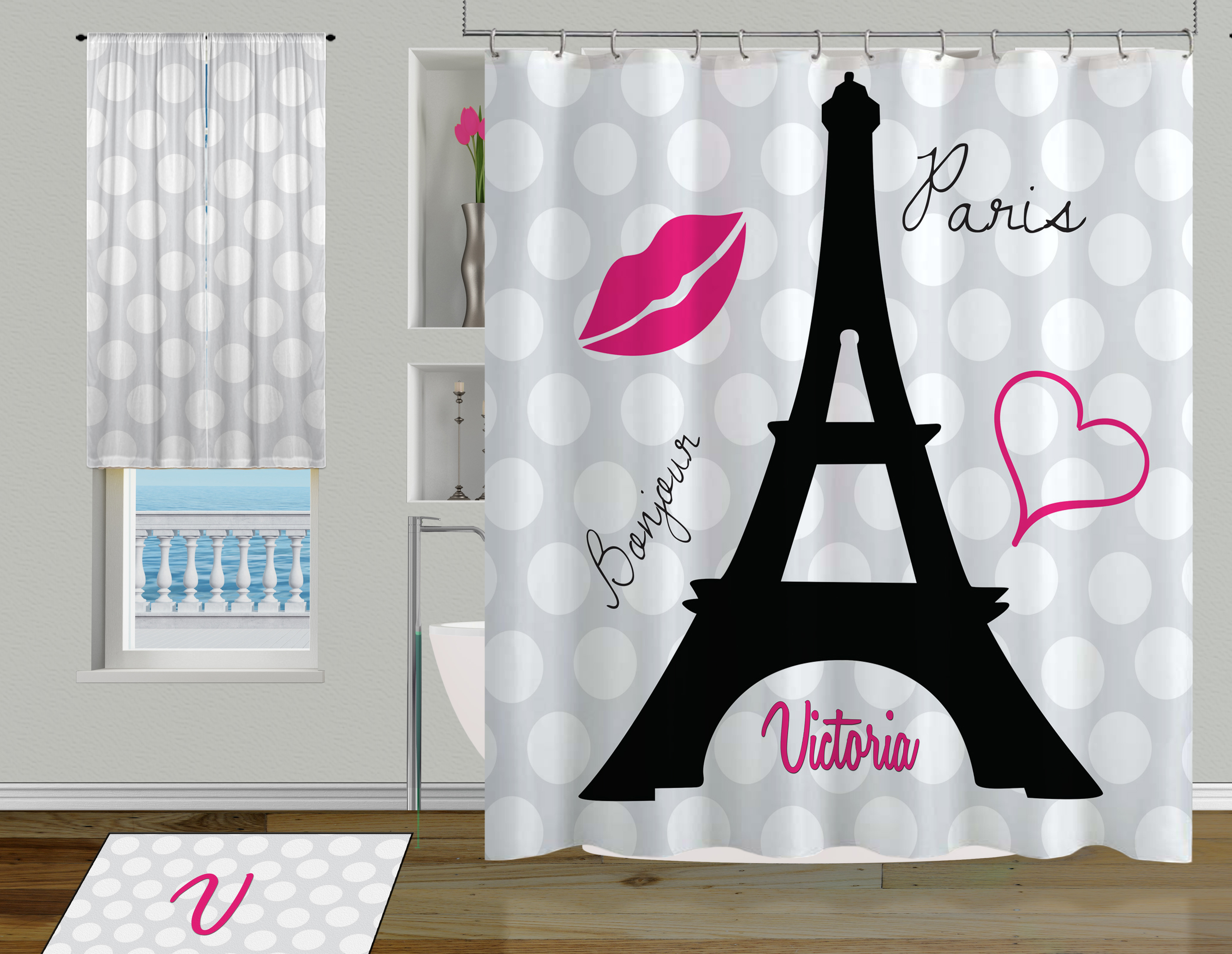 Cute Girly Shower Curtains Black And White Eiffel Tower Shower Curtain Cute Paris Girls Shower Curtain 79