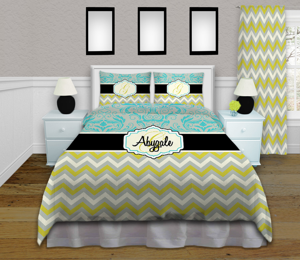 Damask Duvet Blue And Grey Damask Duvet Cover With Green Chevron Pattern 113