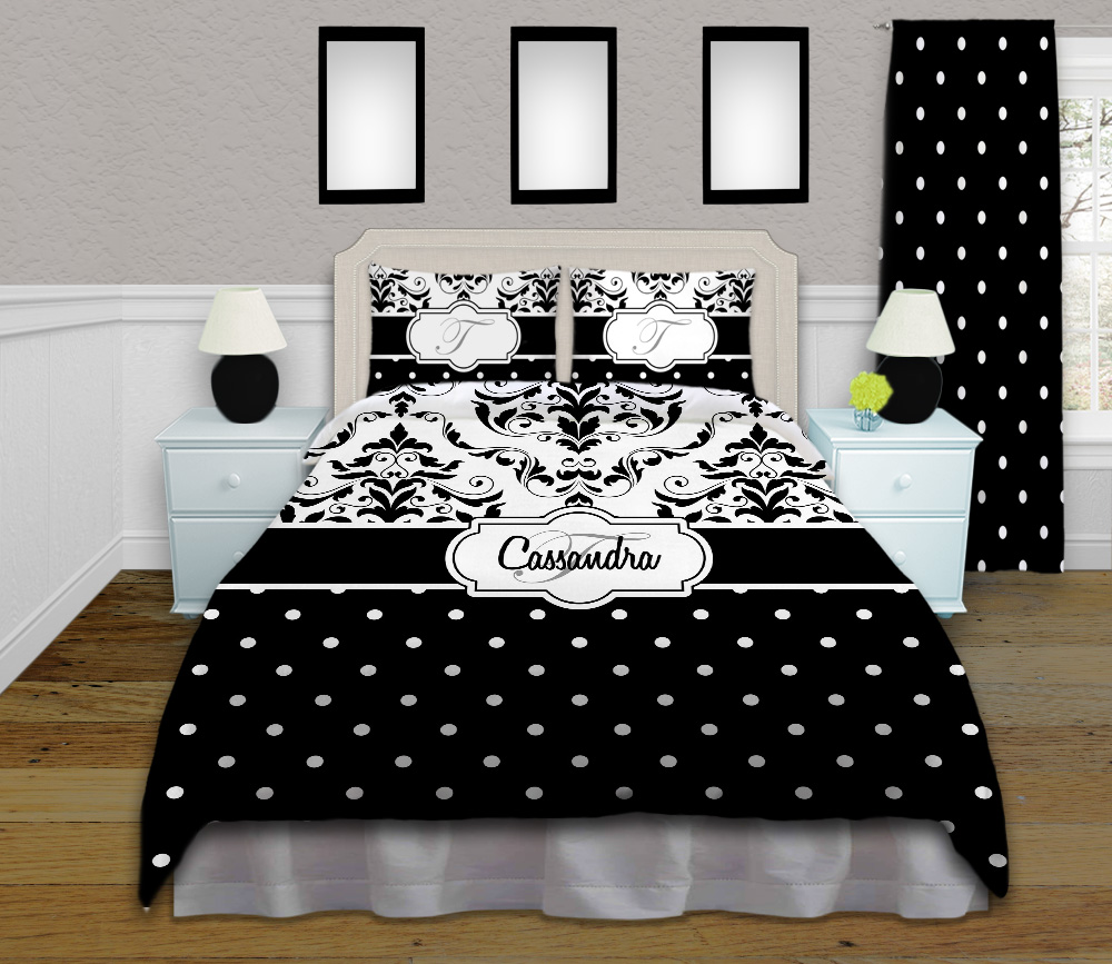 Damask Duvet Black And White Polka Dot Bedding With Damask Pattern Comes Twin Queen Full King 112
