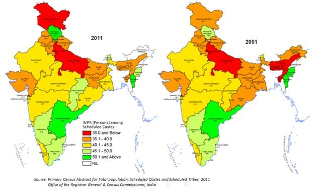 Evolución en la participación laboral de las castas menos favorecidas Fuente: Census of India 2011