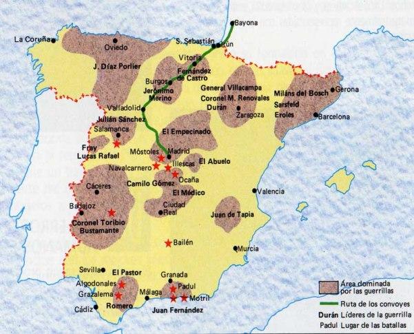 Las principales zonas de actuación de la guerrilla española, claves en la derrota de Napoleón.