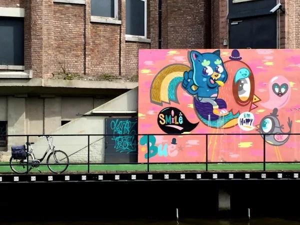 Fotos de Gante, ruta street art Bue the warrior y bici