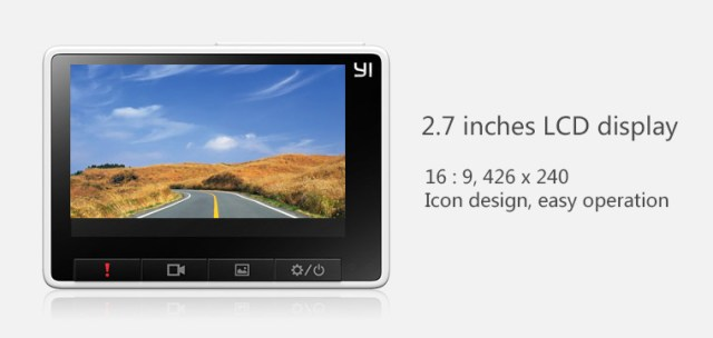"Xiaomi YI Dashboard Camera comes with 2,7"" live view display"