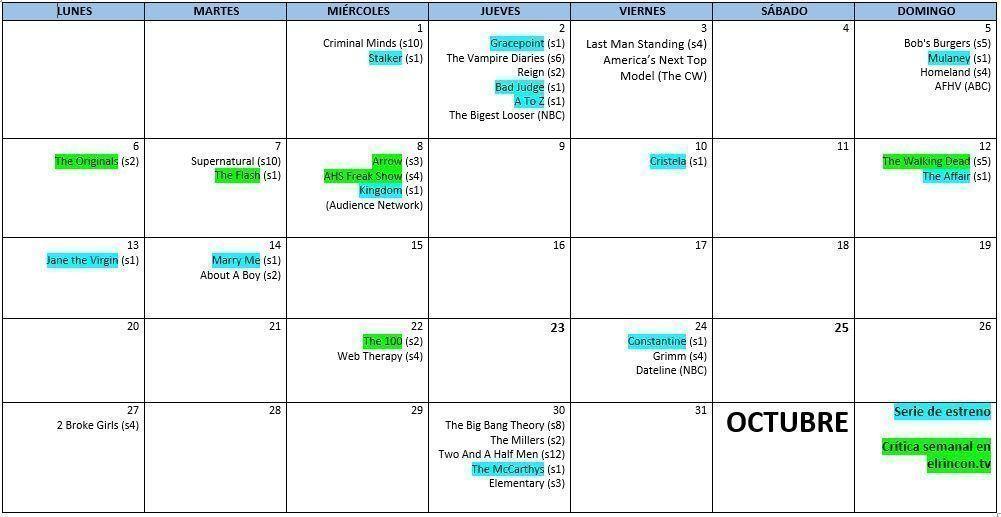 Calendario series USA-UK octubre 2014