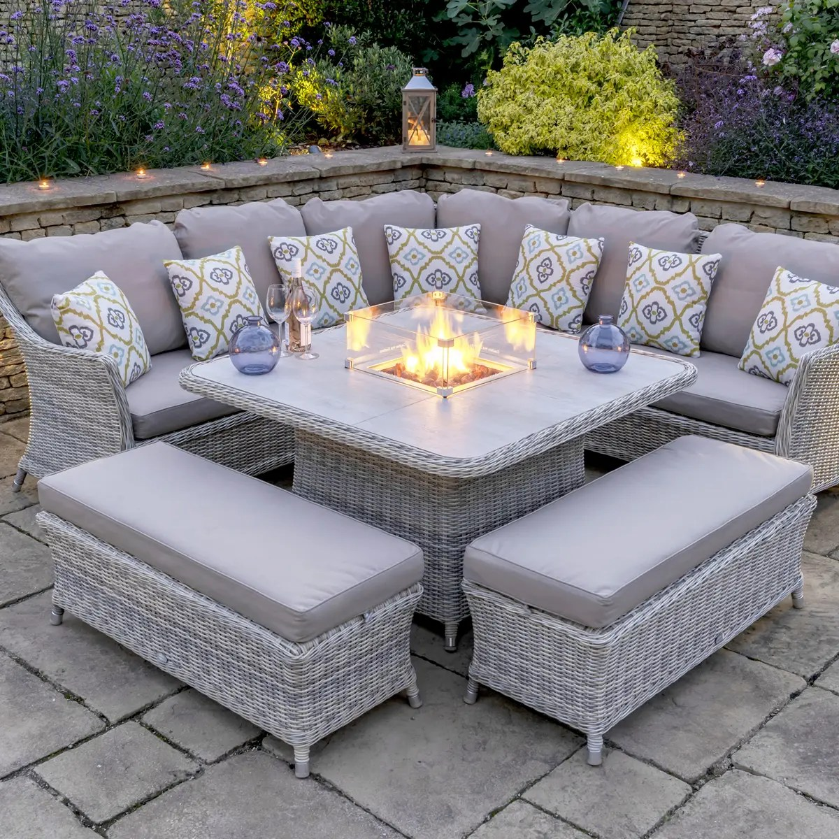 Bramblecrest Ascot Square Casual Dining Table Set With Firepit Ceramic Top With 2 Benches X19wassqcds4fp Garden Furniture World