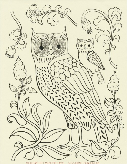 Free Owl Embroidery Pattern Halloween Quilt Fabric Sale