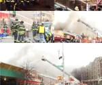 Fuego de 5 alarmas destruye comercios dominicanos en centro comercial de El Bronx