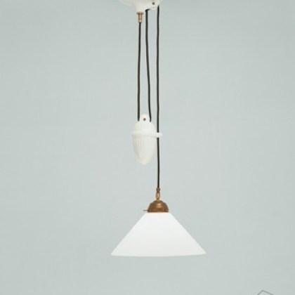 005EI01-70opB Lámpara con polea de porcelana y tulipa de cristal