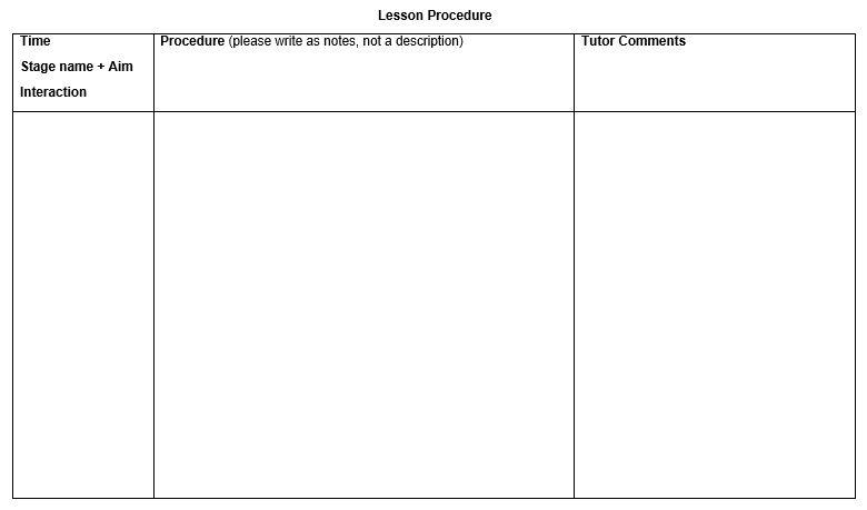 DipTESOL observed practice u2013 lesson planning ELT planning TEFL - kindergarten lesson plan