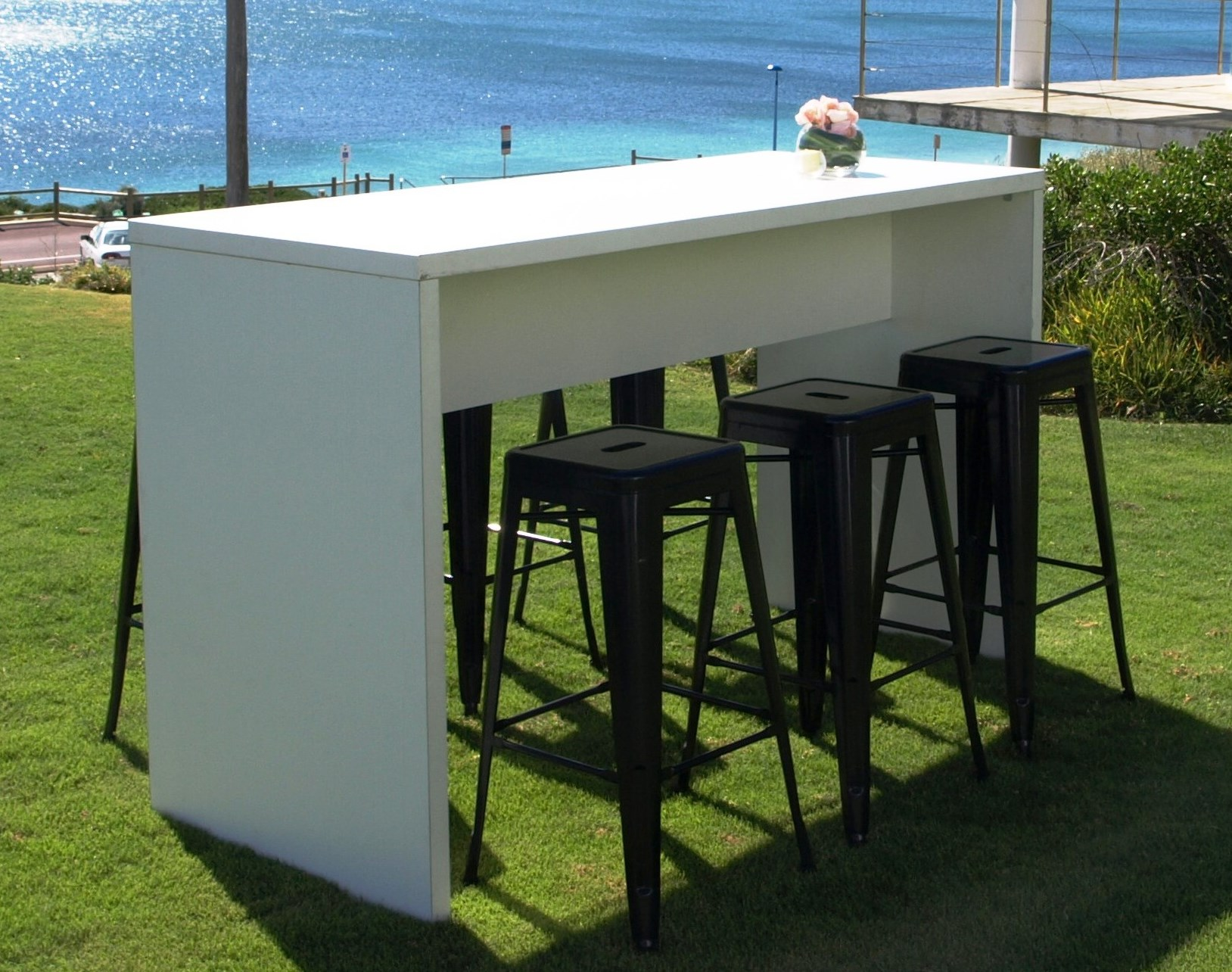 High Bar Tables Perth White High Table With Black Tolix Stools