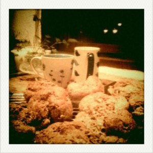 Irish Brown Bread Scone Recipe - image of freshly baked scones and cups of tea