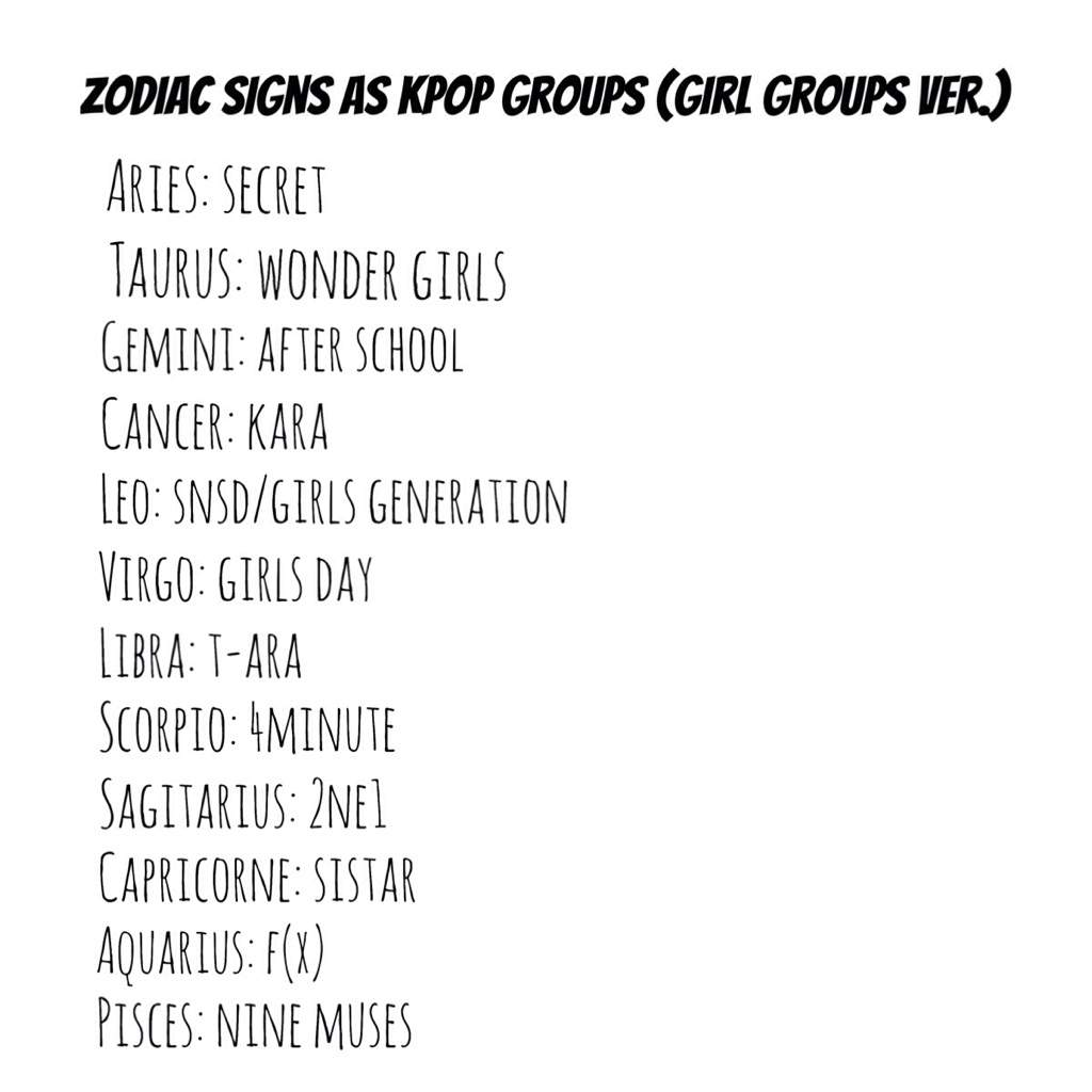 Zodiac Signs Kpop Zodiac ㅡ Zodiac Signs As Kpop Groups Girls Vers