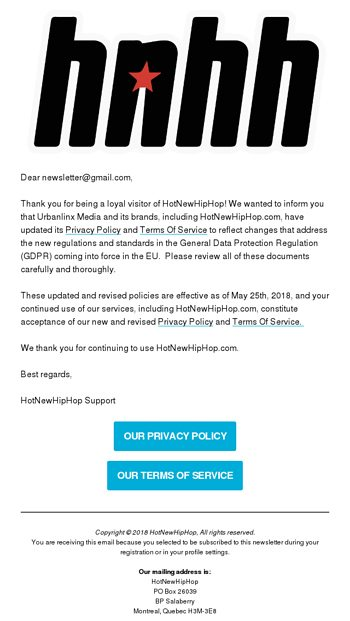 Important Notice Regarding HotNewHipHop\u0027s Terms and Conditions and
