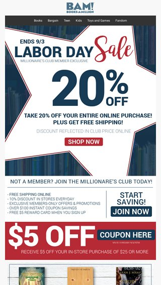 Enjoy LABOR DAY SAVINGS In-Store  Online! - Books-A-Million Email