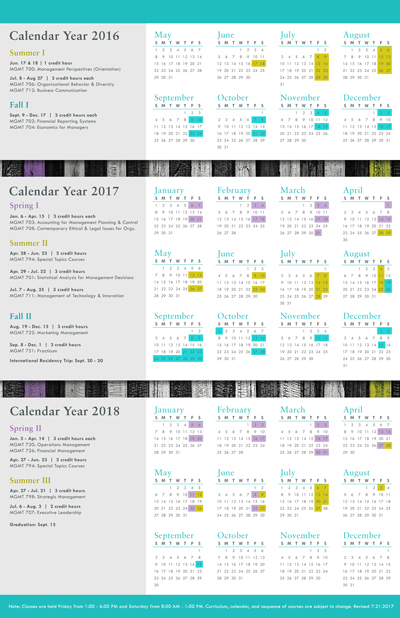 Calendar, Schedule,  Course Descriptions  Anderson Executive MBA - Calendar Class