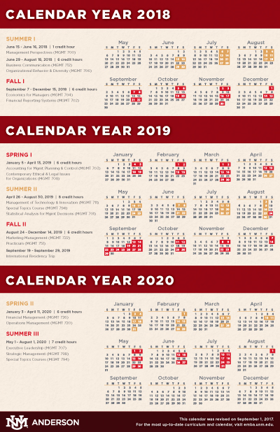 Calendar, Schedule,  Course Descriptions  Anderson Executive MBA - Calendar Class