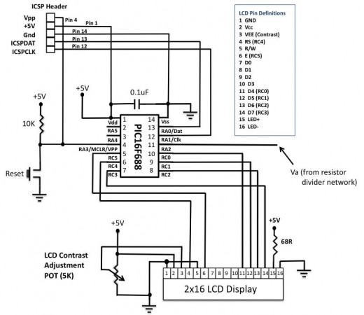 Pic16f684 Digital Ammeter Electronic Circuit Schematic Wiring