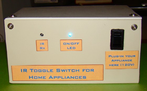 A very simple IR remote control switch for an electrical appliance